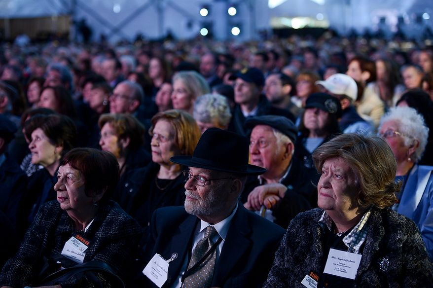 Holocaust survivors sit in the audience during the U.S. Holocaust Memorial Museum's 20th-anniversary commemoration and national tribute to Holocaust survivors and World War II veterans in Washington on Monday, April 29, 2013. (Andrew Harnik/The Washington Times)
