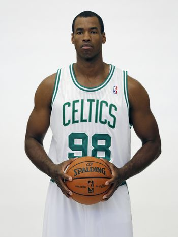 In a Friday, Sept. 28, 2012 file photo, Boston Celtics' Jason Collins poses during Celtics NBA basketball media day at the team's training facility in Waltham, Mass. NBA veteran center Collins has become the first male professional athlete in the major four American sports leagues to come out as gay. Collins wrote a first-person account posted Monday, April 29, 2013 on Sports Illustrated's website. He finished this past season with the Washington Wizards and is now a free agent. (AP Photo/Michael Dwyer, File)