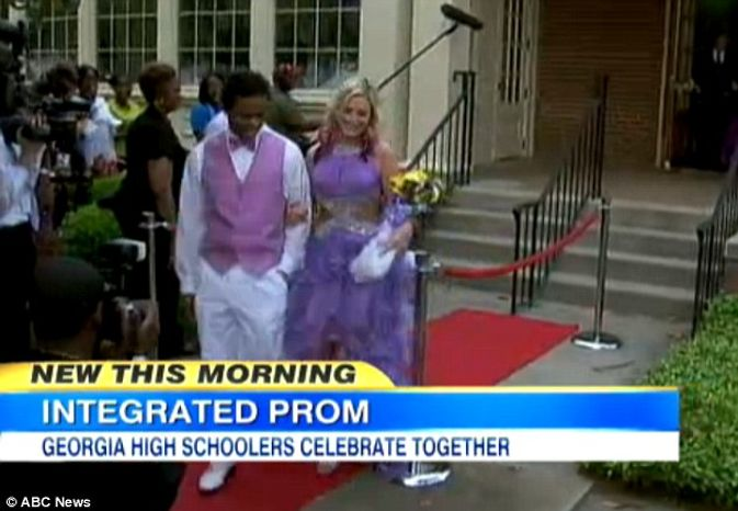 A high school in Wilcox County, Georgia, hosted its first racially mixed prom over the weekend. (Screen shot: ABC News)