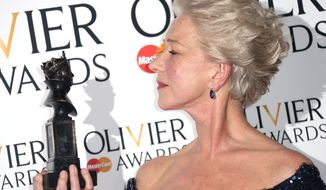 "Helen Mirren won the best actress award for her portrayal of Queen Elizabeth II in ""The Audience"" at the 2013 Olivier Awards, presented at the Royal Opera House in London on Sunday, April 28, 2013. (Joel Ryan/Invision/AP)"