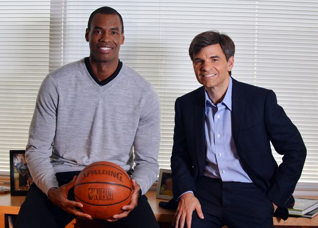 In this photo provided by ABC, NBA basketball veteran Jason Collins (left) poses for a photo with television journalist George Stephanopoulos on April 29, 2013, in Los Angeles. In a first-person article posted earlier that day on Sports Illustrated's website, Collins became the first active player in one of four major U.S. professional sports leagues to come out as gay. (Associated Press/ABC)