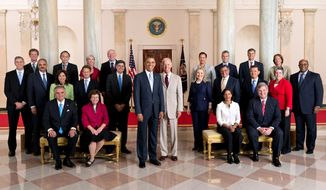 President Obama and Vice President Joe Biden pose with the full Cabinet for an official group photo in the Grand Foyer of the White House, July 26, 2012. (Official White House Photo by Chuck Kennedy)