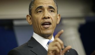 President Obama answers questions during a news conference in the Brady Press Briefing Room of the White House in Washington on Tuesday, April 30, 2013. (Associated Press)