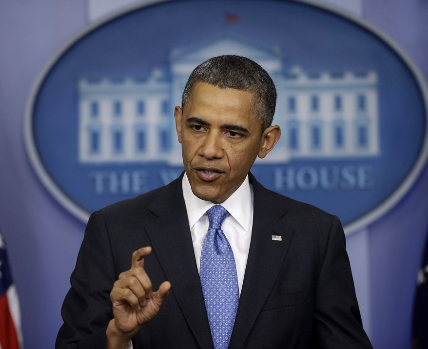 President Obama answers questions during a news conference in the Brady Press Briefing Room of the White House in Washington on April 30, 2013. (Associated Press)