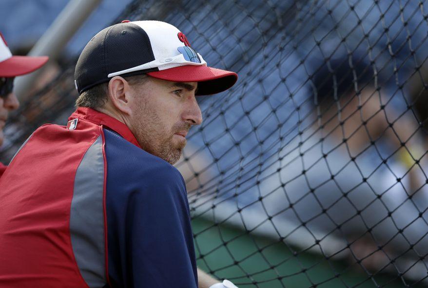 Washington Nationals first baseman Adam LaRoche watches batting practice. (Associated Press photo)
