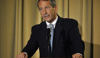 ** FILE ** Former South Carolina Gov. Mark Sanford answers a question during the 1st Congressional District debate on Monday, April 29, 2013 in Charleston, S.C. (AP Photo/Rainier Ehrhardt)