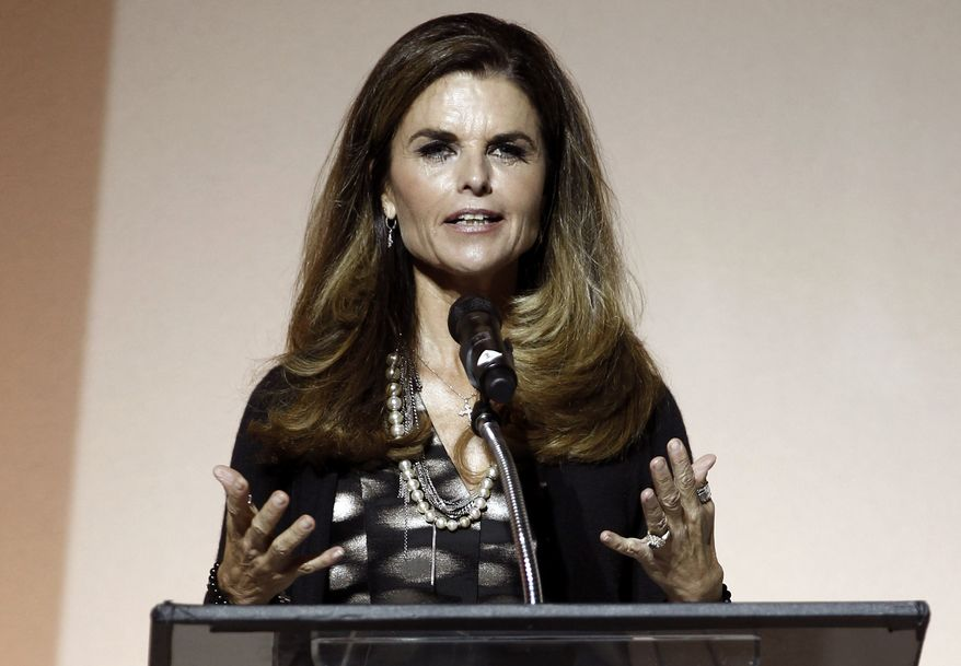 ** FILE ** Maria Shriver speaks at the seventh annual MOCA Award to Distinguished Women in the Arts luncheon in Beverly Hills, Calif., on May 1, 2012. (AP Photo/Matt Sayles)