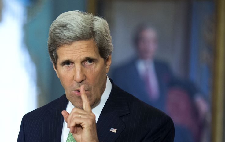** FILE ** Secretary of State John Kerry talks to reporters during a joint news conference with Spanish Foreign Minister Jose Manuel Garcia-Margallo following their meeting at the State Department in Washington on April 30, 2013. (Associated Press)