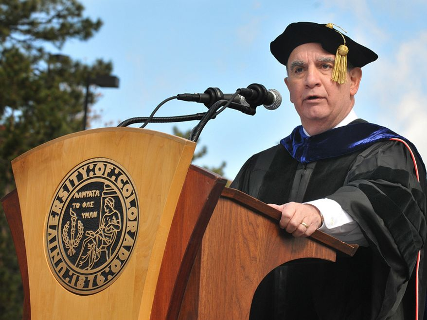 Chancellor Philip DiStefano addresses 5,500 graduates and their families and friends during spring commencement at Folsom Field at the University of Colorado at Boulder. (Source: University of Colorado) ** FILE **