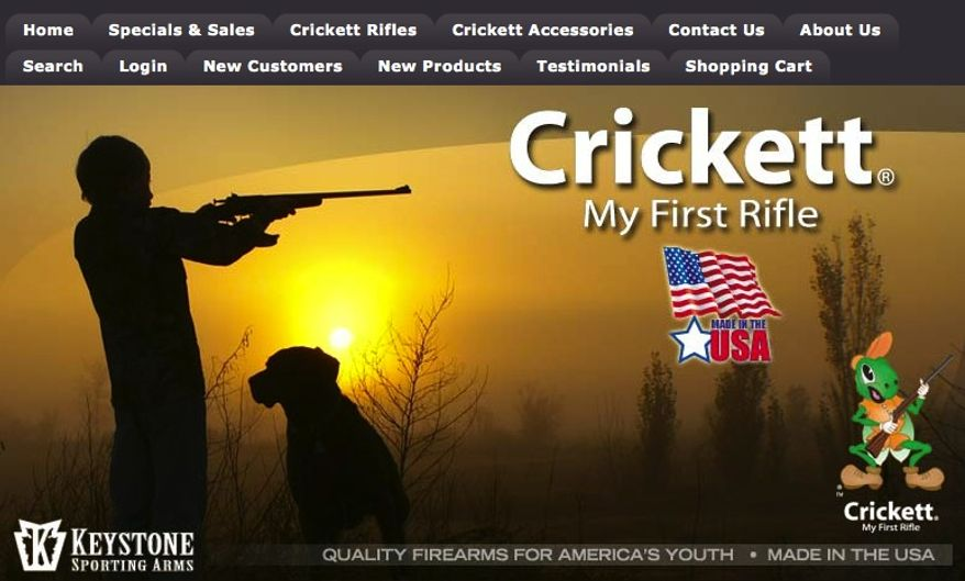 A screen shot of the website for Crickett, a company that specifically makes guns, clothes and books for children, is seen here.