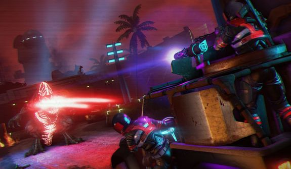 A dragon attacks in the first person shooter Far Cry 3: Blood Dragon.