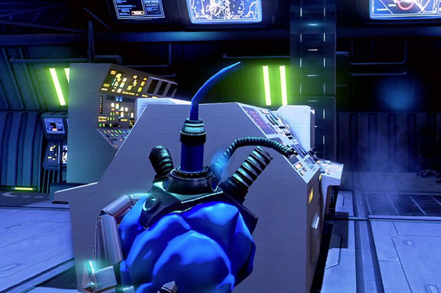 Rex Colt examines a heart from his deceased cybersoldier in the first person shooter Far Cry 3: Blood Dragon.