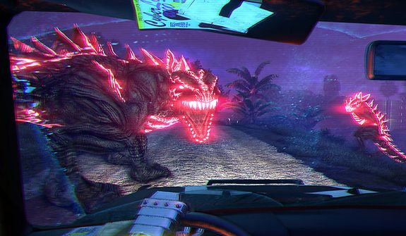 A close encounter with a really annoyed beast in the first person shooter Far Cry 3: Blood Dragon.
