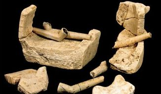 Fragments of pipes and pottery containers used in kilns during ceramic firing were unearthed during the recent excavation at a Jamestown, Virgina site. New evidence also suggest that starving residents resorted to cannibalism. (Michael Lavin/Jamestown Rediscovery Project via Associated Press)
