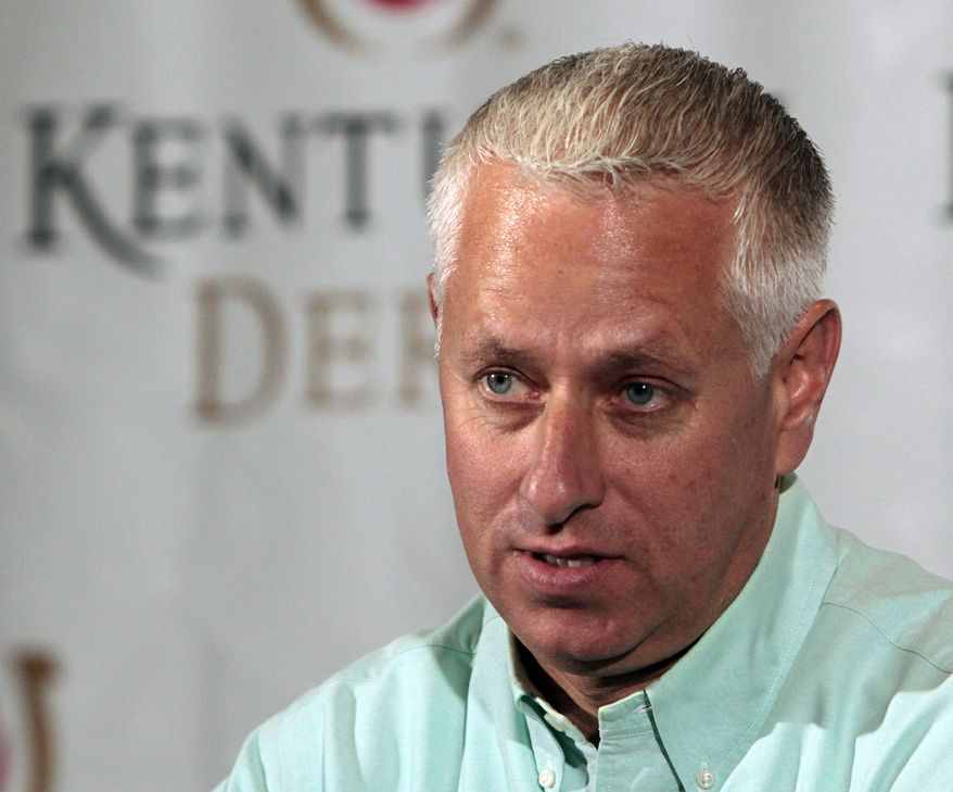 Trainer Todd Pletcher talks about his five potential Kentucky Derby entrants during a morning news conference at Churchill Downs Saturday, April 27, 2013 in Louisville, Ky. (AP Photo/Garry Jones)