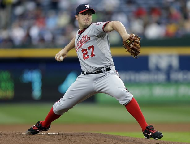 Jordan Zimmermann dominated again on Wednesday night, shutting out the Braves over eight innings in the Nationals' 2-0 victory. (Associated Press photo)