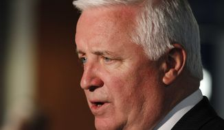 Pennsylvania Gov. Tom Corbett, a Republican, attends an awards banquet at Heinz Field in Pittsburgh on Thursday, April, 18, 2013. (AP Photo/Gene J. Puskar)