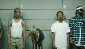 In an advertisement originally released online by PepsiCo, a woman must identify an assailant from a row of black men and a goat. PepsiCo pulled the ad after complaints that it was racially insensitive. (Image: YouTube)