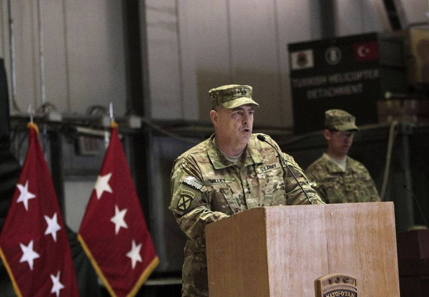 Lt. Gen. Mark A. Milley speaks May 2, 2013, at a ceremony after he assumed command as International Security Assistance Force Joint Command, Deputy Commanding General of U.S. Forces in Afghanistan at a NATO base at Kabul International Airport. Milley replaces Lt. Gen. James L. Terry. (Associated Press)