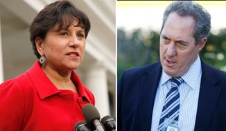 A White House official says President Barack Obama will name a longtime fundraiser to run the Commerce Department and a top economic adviser as the next U.S. Trade Representative. The Commerce nominee is expected to be Penny Pritzker, left, shown in a Oct. 4, 2010, file photo and The U.S. Trade Representative is expected to be Mike Froman seen in an Oct. 8, 2010, file photo. Obama will announce both nominations from the White House Thursday morning May 2, 2013, before departing for Mexico. (AP Photo/File)