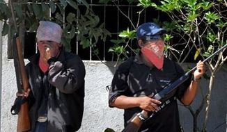 ** FILE ** Men cover their faces and carry small arms in the Mexican state of Guerrero, Jan. 11, 2013. (AP Photo/Bernandino Hernandez)