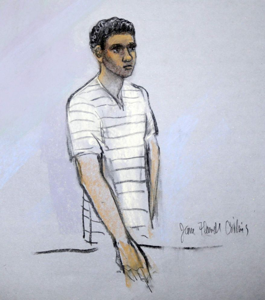 Defendant Robel Phillipos appears before federal Magistrate Marianne Bowler at the Moakley Federal Courthouse in Boston on Wednesday, May 1, 2013, in this courtroom sketch by artist Jane Flavell Collins. Mr. Phillipos and two other college friends of Boston Marathon bombing suspect Dzhokhar Tsarnaev were arrested and charged with removing a backpack containing hollowed-out fireworks from Mr. Tsarnaev's dorm room. (AP Photo/Jane Flavell Collins)