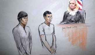 ** FILE ** This courtroom sketch signed by artist Jane Flavell Collins shows defendants Dias Kadyrbayev, left, and Azamat Tazhayakov appearing in front of Federal Magistrate Marianne Bowler at the Moakley Federal Courthouse in Boston on Wednesday, May 1, 2013. (AP Photo/Jane Flavell Collins)