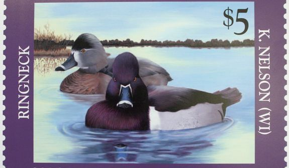 **FILE** The 2005-2006 Federal Junior Duck Stamp, designed by Kerissa Nelson, 17, of Grantsburg, Wis., is displayed on Capitol Hill in Washington on June 30, 2005, during the U.S. Fish and Wildlife Service's first day of sale ceremony. (Associated Press)