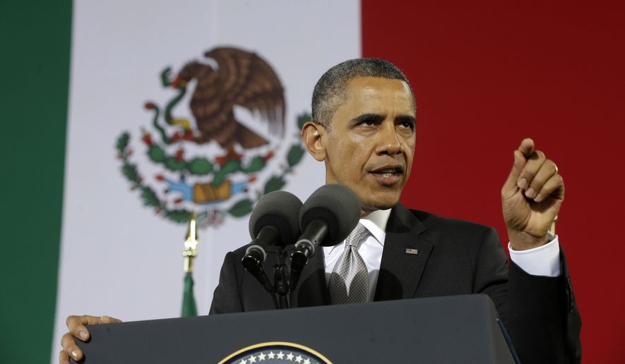 President Obama speaks at the Anthropology Museum in Mexico City on May 3, 2013. (Associated Press) **FILE**