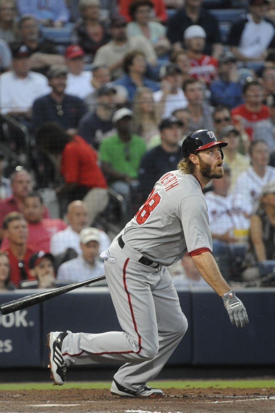 Jayson Werth left Thursday night's game with a tight hamstring. (Associated Press photo)