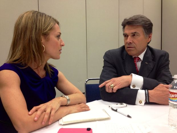 Texas Gov. Rick Perry interviewed by The Washington Times' Emily Miller at the NRA Annual meeting in Houston, Texas. May 3, 2013