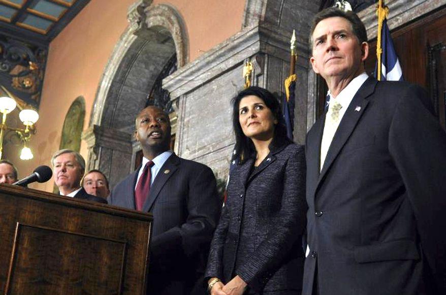 South Carolina Republican politics: Sen. Tim Scott, Gov. Nikki Haley and former senator Jim DeMint. (photo from South Carolina Republican Party)