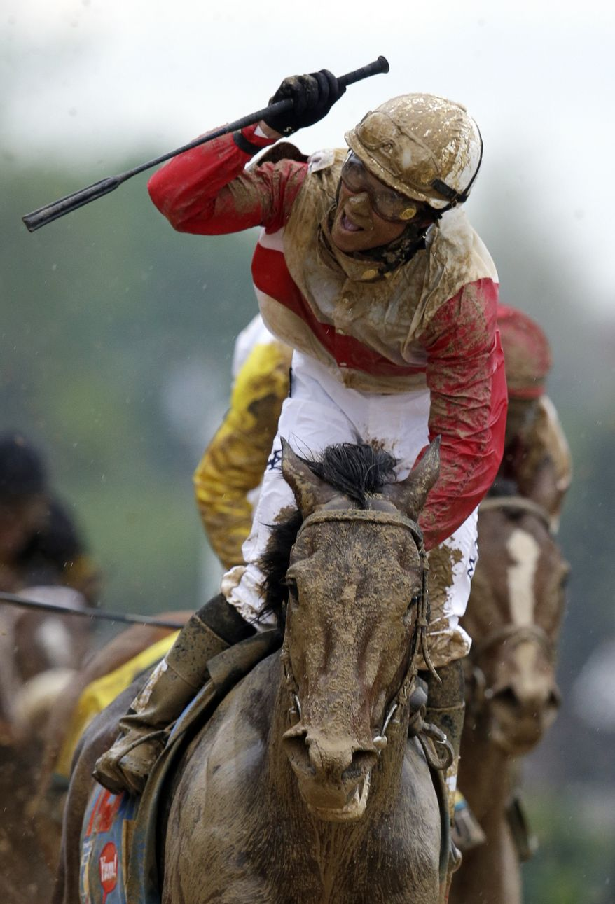 Joel Rosario rides Orb reacts after the 139th Kentucky Derby at Churchill Downs Saturday, May 4, 2013, in Louisville, Ky. (AP Photo/Darron Cummings)