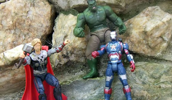 Thor and the Hulk join the Assemblers Iron Patriot.  (Photograph by Joseph Szadkowski / The Washington Times)