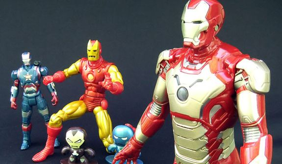 From left: Assemblers Iron Patriot, Marvel Legends' Classic Iron Man, Iron Man Micro Muggs and Arc Strike Iron Man. (Photograph by Joseph Szadkowski / The Washington Times)