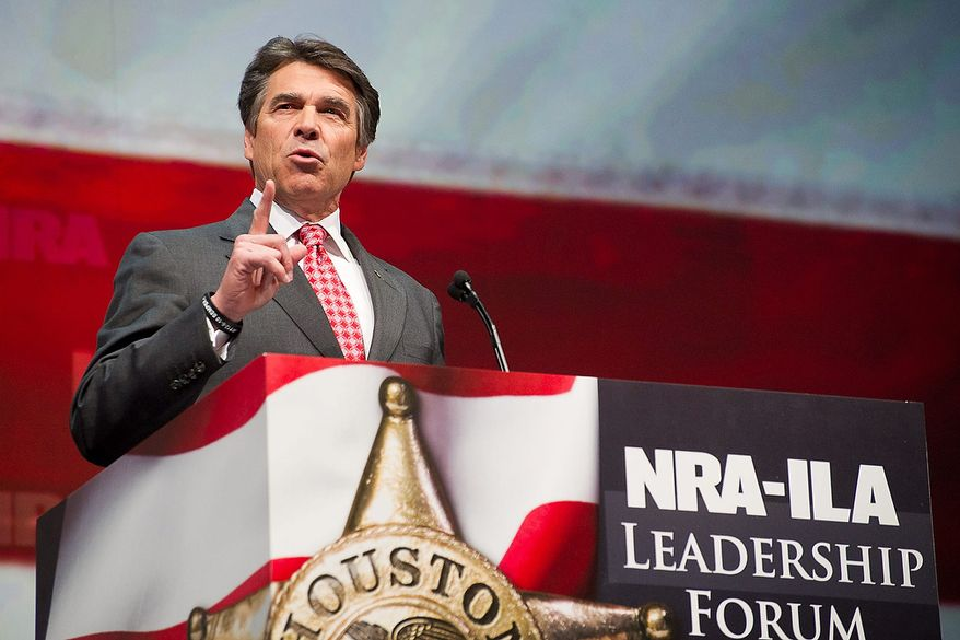Texas Gov. Rick Perry speaks during the leadership forum at the National Rifle Association's annual meeting Friday, May 3, 2013 in Houston. (AP Photo/Steve Ueckert)