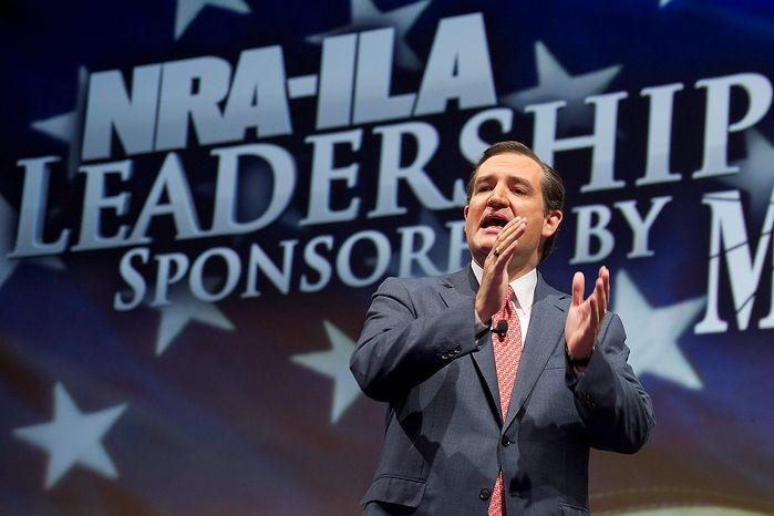 Sen. Ted Cruz, R-Texas, speaks during the leadership forum at the National Rifle Association's annual meeting Friday, May 3, 2013 in Houston. (AP Photo/Steve Ueckert)