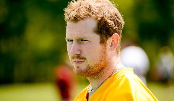 Quarterback Matthew McGloin (4) participates in the Washington Redskins' rookie minicamp at Redskins Park in Ashburn, Va., on Sunday, May 5, 2013. (Andrew Harnik/The Washington Times)