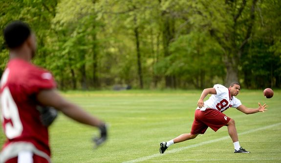 Washington Redskins tight end Jordan Reed (86) catches a ball at the team's rookie minicamp at Redskins Park in Ashburn, Va., on Sunday, May 5, 2013. (Andrew Harnik/The Washington Times)
