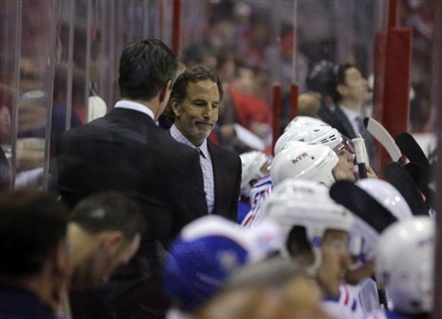 New York Rangers head coach John Tortorella, right, stands in the bench area in the first period of Game 1 of a Stanley Cup NHL playoff hockey series against the Washington Capitals, Thursday, May 2, 2013 in Washington. (AP Photo/Alex Brandon)