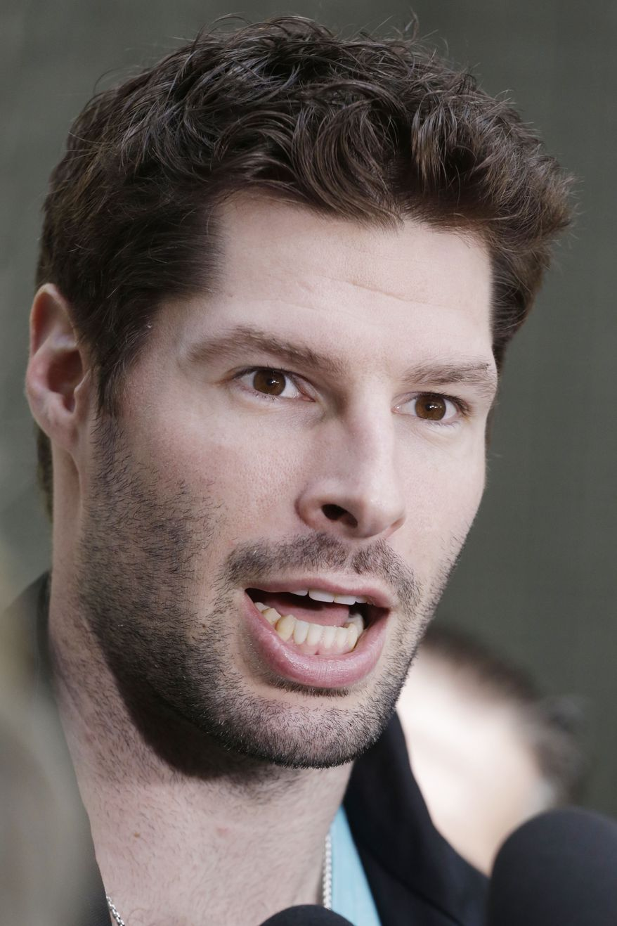 Washington Capitals' Troy Brouwer talks to the media during a news conference, Tuesday, May 7, 2013 in New York. The Capitals lead the New York Rangers 2-1 in their first-round NHL hockey Stanley Cup playoff series. (AP Photo/Mark Lennihan)