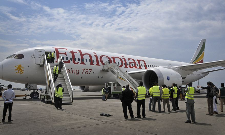 An Ethiopian Airlines Boeing 787 Dreamliner prepares to depart from Addis Ababa Airport in Ethiopia on Saturday, April 27, 2013. (AP Photo/Elias Asmare)