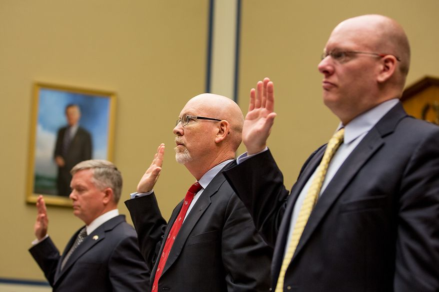 Left to right: State Department officials Acting Deputy Assistant Secretary for Counterterrorism Mark Thompson, Foreign Service Officer and former Deputy Chief of Mission/ChargÈ díAffairs in Libya Gregory Hicks, and Diplomatic Security Officer and former Regional Security Officer in Libya Eric Nordstrom are sworn in to testify before a House Oversight and Government Reform Committee hearing on the September 11, 2012 attack in Benghazi, Libya on Capitol Hill, Washington, D.C., Wednesday, May 8, 2013. (Andrew Geraci/The Washington Times)