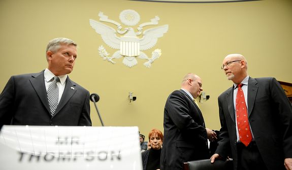 Left to right: State Department officials Acting Deputy Assistant Secretary for Counterterrorism Mark Thompson, Diplomatic Security Officer and former Regional Security Officer in Libya Eric Nordstrom, and Foreign Service Officer and former Deputy Chief of Mission/ChargÈ díAffairs in Libya Gregory Hicks, arrive to testify before a House Oversight and Government Reform Committee hearing on the September 11, 2012 attack in Benghazi, Libya on Capitol Hill, Washington, D.C., Wednesday, May 8, 2013. (Andrew Harnik/The Washington Times)