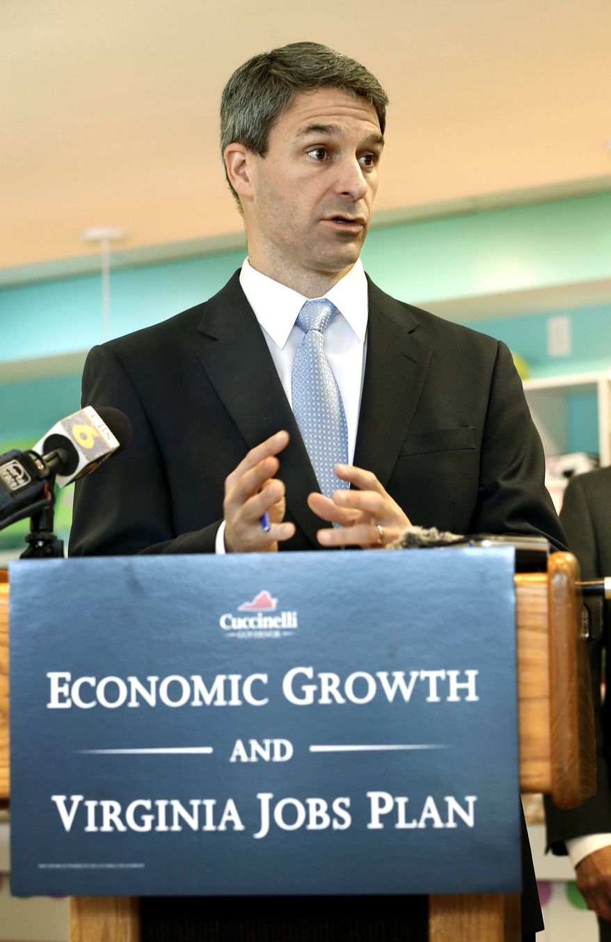 **FILE** Virginia Attorney General and Republican gubernatorial candidate Ken Cuccinelli outlines his Economic Growth and Virginia Jobs Plan at a Sweet Frog shop in Carytown on May 7, 2013. (Associated Press/Richmond Times-Dispatch)