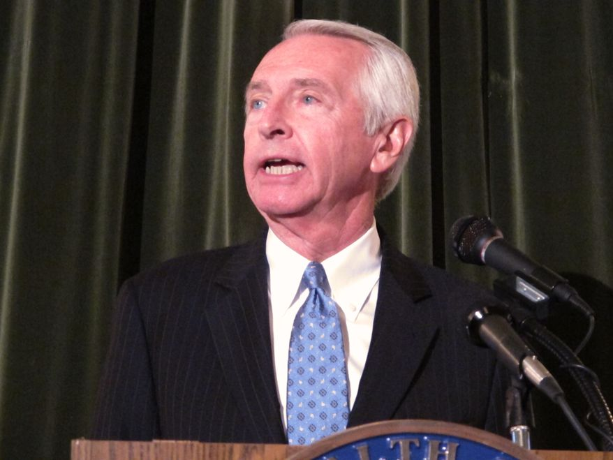 Gov. Steve Beshear speaks during a press conference in Frankfort, Ky., on May 9, 2013. Beshear announced that he had decided to expand Medicaid, the government health care program, to an additional 300,000 Kentucky residents. (Associated Press)