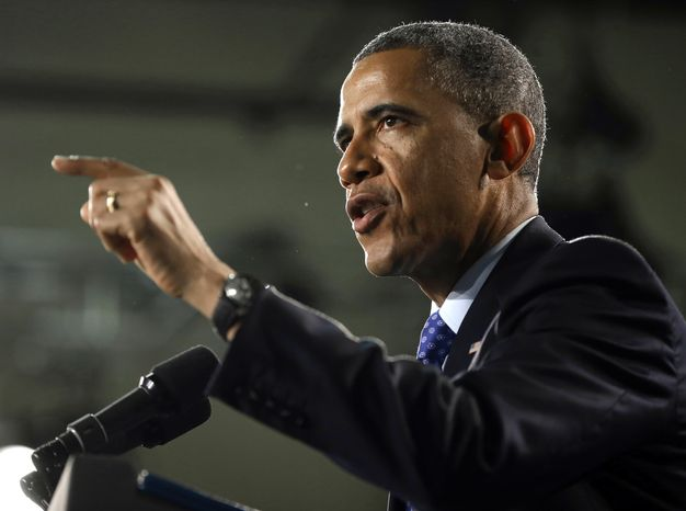 President Obama speaks during his visit to Manor New Technology High School in Manor, Texas, on May 9, 2013. (Associated Press)