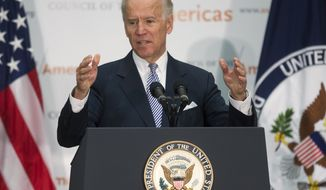 **FILE** Vice President Joseph R. Biden delivers remarks at the 43rd annual Washington Conference on the Americas at the State Department in Washington on May 8, 2013. (Associated Press)