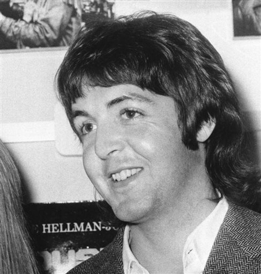 Beatle Paul McCartney at the London Pavilion, London in 1969. (AP Photo, File )