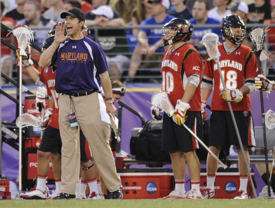 **FILE** Maryland's head coach John Tillman shouts to his team in an NCAA Division I Lacrosse semi final game against Duke Saturday, May 28, 2011 in Baltimore.(AP Photo/Gail Burton)